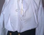 Mens white shirt tie front  Pirate SoldierPoldarkPilgrim Fathers SCA Re enactmentLARP Cosplay