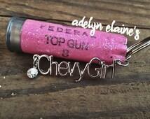 Chevy Girl Keychain with Glitter Pink 12 Gauge Shotgun Shell Keychain