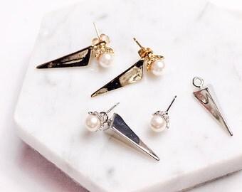 Pearl Earrings,Triangle Pearl Earrings,Triangle Earrings,Unique Style Earrings,Gold Plated Earrings,Pearl Stud Earrings,Anniversary Gift
