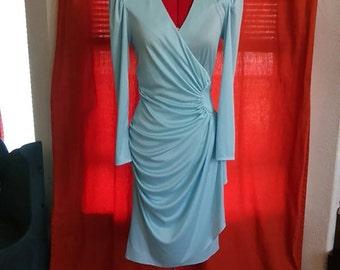 Saucy light blue vintage circa 1970's wrap dress- size 7/8- perfect condition