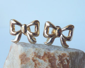 MONET Gold Bow Tie Earrings Retro Gold Bow Tie Clip On Earrings Vintage Gold Clip On, Vintage Earrings from 60's Costume Small Retro Bow Tie