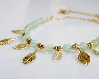 Pale Green Necklace - Green Chalcedony with 14K Gold Filled Charms and Chain, Light Green Gemstone Necklace with Gold Leaf Charms