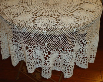 Vintage, Handmade White Crochet Lace, 54 Inch, Round Tablecloth, Weddings,  Tabletopper