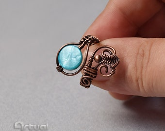 Wire ring, adjustable ring, wire jewelry, copper ring, gift for her, statement ring, wire wrapped jewelry, boho ring, gift ideas, colorful