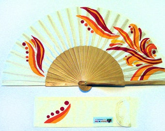 "Hand painted with matching sheath Fan ""day sunny"""