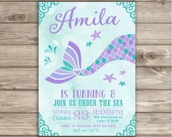 mermaid birthday  etsy, invitation samples