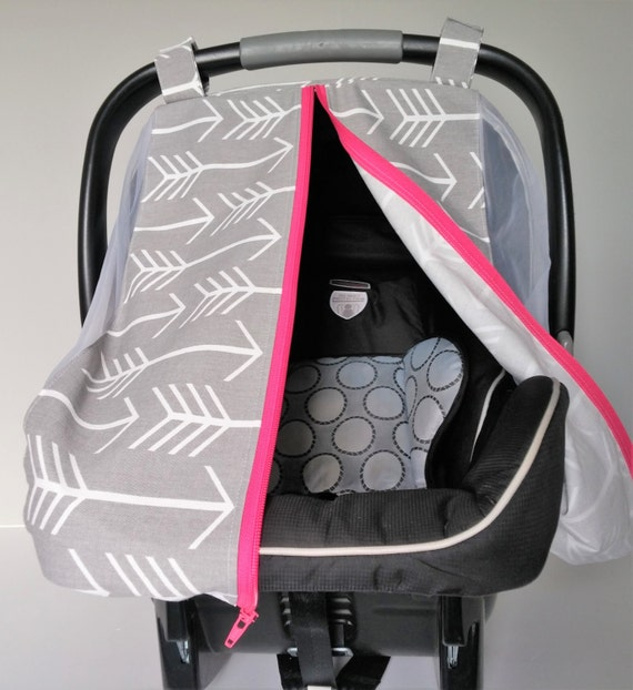 summer car seat canopy gray and white arrows car seat cover. Black Bedroom Furniture Sets. Home Design Ideas