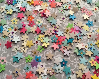 Scrapbook Embellishments - Assorted Jeweled Flowers - 5 Petals - Approx 3/8""