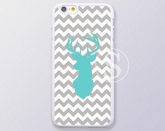 iPhone 6 case, iPhone 6s case, iPhone 5 case, iPhone 6 Plus case, iPhone 5S case, iPhone 6s plus case, Blue Deer Head on Gray Chevron,SB-15