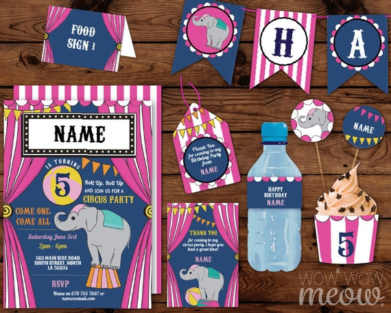 Pink CIRCUS Carnival Birthday Party Package Invitations & Decorations ...