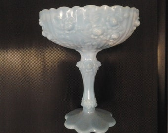 Fenton blue and white milk glass dish with signature