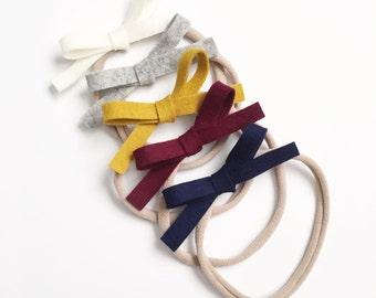 Fall Hand Tied Felt Bow on Nylon Headband Or Hair Clip / Mustard Felt Bow / Felt Bow Headband/ 100% Wool Felt / Burgundy Bow / Fall Felt Bow