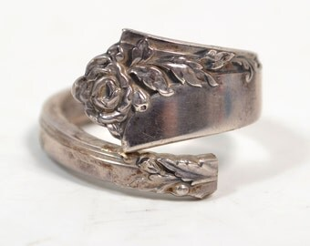 Vintage 925 Sterling Silver Size 14 Spoon Ring
