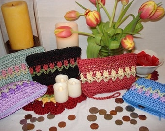 "Crocheted Coin Purse PATTERN, ""Tulip"" stitch, Change Purse Pattern, Crocheted Purse, Purse Organizer, Accessory, crochet pattern, mom gift"