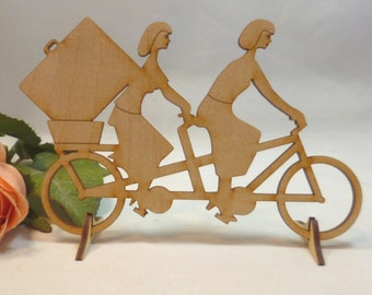 Wood tandem and engraving of bride and groom two women 150 mm for wedding