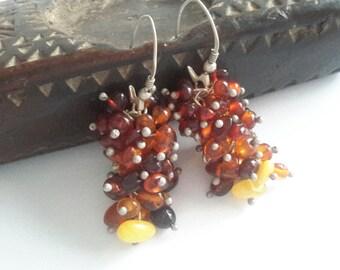 Vintage Amber & Silver Earrings