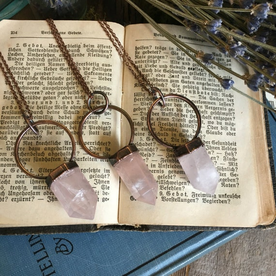 Rose Quartz Necklace / Rose Quartz Pendant / Electroformed Crystal Necklace / Pink Crystal Necklace/ Healing Crystal Jewelry Gypsy Necklace