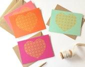 Valentine's Day Card Set, Gold Heart, Hot Pink, Orange, Mint Green, Coral Pink Paper, Deco Stars Design (Set of 4 Cards)