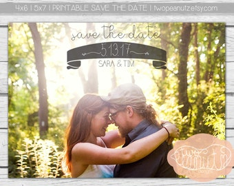 Save The Date Customized Photo Engagement Announcement 5x7 or 4x6 Announcement Printable Digital File