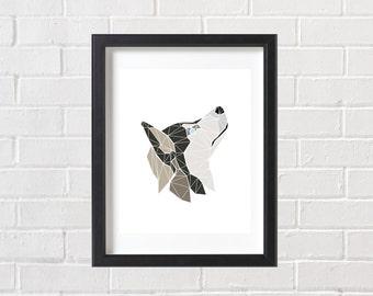Dog Print, Dog Wall Art, Siberian Husky Dog, Dog Art, Instant Download, Printable, Geometric Husky Dog Print, Geometric Dog Art, Wolf Print