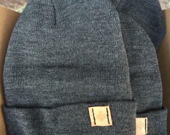 """12"""" Charcoal Knit Beanie Cap"""