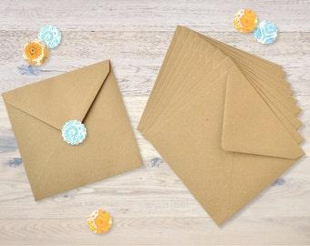 10 Kraft Brown Paper Envelopes 15,5 X 15,5 cm