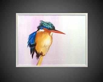 Original Acrylic Painting on Canvas Fine Art Realistic Little Bird