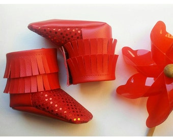 Red sparkle boot moccasins