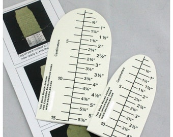 The Junior Sock Ruler - both metric & imperial measurements.