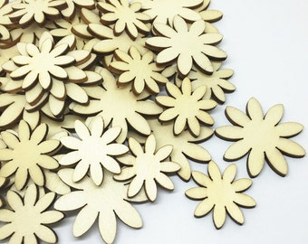 50 x Mixed Sized Bag of Wood mdf Type Flower Shapes For Craft Embellishments