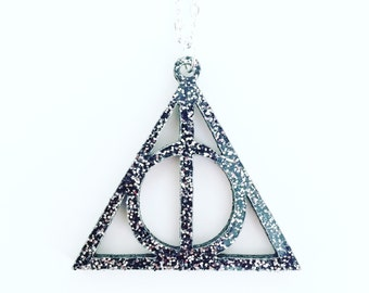 Glittery Deathly Hallows necklace