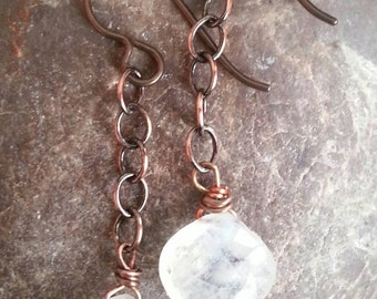 Moonstone, Copper, and Hypoallergenic Niobium Dangle Earrings