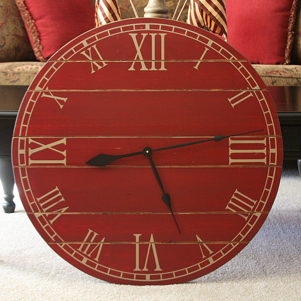 28 inch rustic wall clock large wall clock distressed clock zoom amipublicfo Image collections