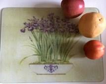 Vintage Tempered Glass Counter Saver, Glass Cutting Board 16 x 12, Iris design cutting board, Kitchen serving tray, cheese board, Iris art