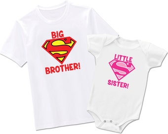 Big Brother Little Sister Matching Superman -  Each Sold Seperately - Bodysuit or T-Shirt