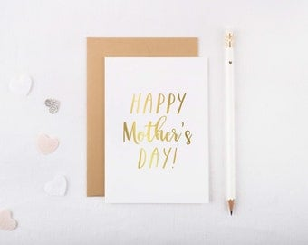 Gold Foil 'Mother's Day' Card