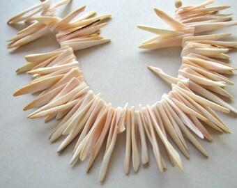 Shell stick beads, 7 inch strand, pink beads, 2x26mm to 2x40mm, 85 beads, shell beads, vintage beads - 864