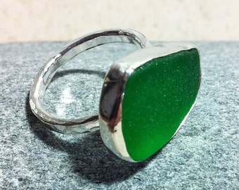 Handmade sterling silver seaglass stacking ring. Made to order with your choice of seaglass.