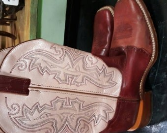 Pink cowboy boots, cowgirl boots, burgandy cowboy boots, vintage boots, boho COWBOY BOOTS - custom boho boots - festival boots - gypsy boots