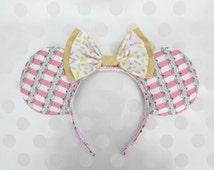Ice Cream Parlor Mouse Ears Headband, Custom Ears