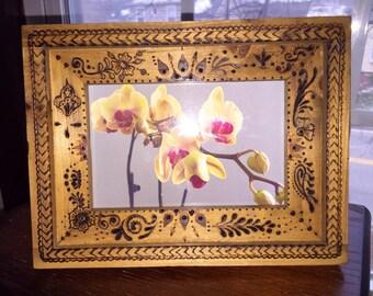 Wooden Frame, Mehndi style, Woodburned