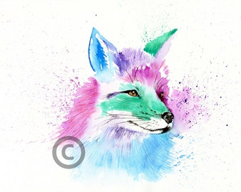 Beautiful fox art colour contemporary based print  from an original watercolour painting sketch individually signed