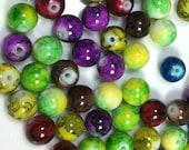 Watercolor Colored Glass Beads, Multi-color glass beads (95) 10 mm glass beads