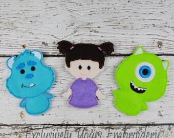 Monster Trio Felt Finger Puppets - Pretend Play - Party Favors - Birthday - Travel Toy - Easter - Boo - Blue Monster - Green Monster
