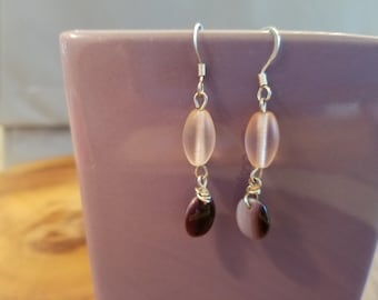 Frosted Pink and Purple Earrings