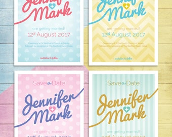 Candy Colours Wedding Save the Date invite in any colour combination