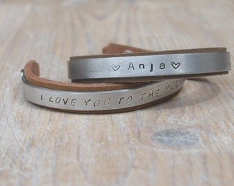 leather and aluminum cudd, text braceler. [ersonalised bracelet, text jewelry, cuff,bangle,leather bracelet