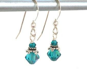 Swarovski Crystals - Teal Blue Earrings - Tiny Crystal Earring - Crystal Jewelry - Blue Green Earrings - Blue Jewelry - Blue Wedding - Bride