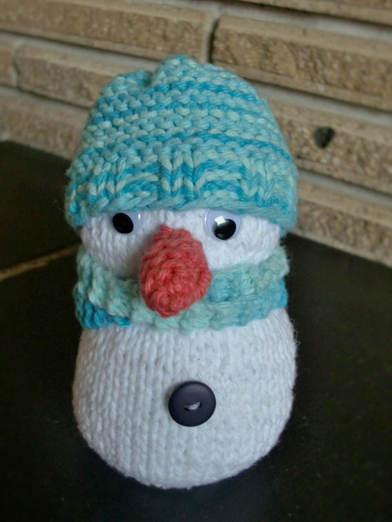 Items similar to Knitted Snowman Christmas Decoration Doll Stuffy, With Scarf...