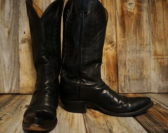 Vintage Tony Lama Cowgirl Boots, Black Leather, Women's size 7B